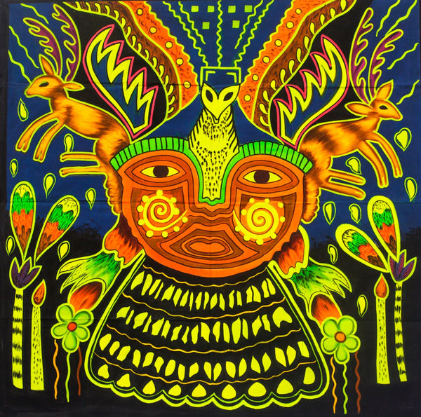 Hikuri Shaman UV Painting - 100x100cm - fully blacklight glowing colors - huichol mescaline artwork