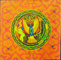 Huichol Eagle visionary art - fully blacklight glowing colors - psychedelic UV painting shipibo conibo yage artwork