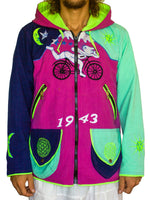 Albert Hofmann Bicycle Day UV pink jacket - blacklight active 4 pockets with hood and flower of life embroidery