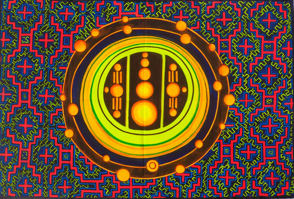 Ayahuasca Crop Circle UV Painting - 90x60cm - handmade on order - fully blacklight glowing colors - psychedelic dmt visionary artwork