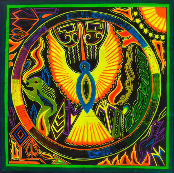 Huichol Peyote Eagle UV Painting - 100x100cm - fully blacklight glowing colors - huichol mescaline spirit artwork