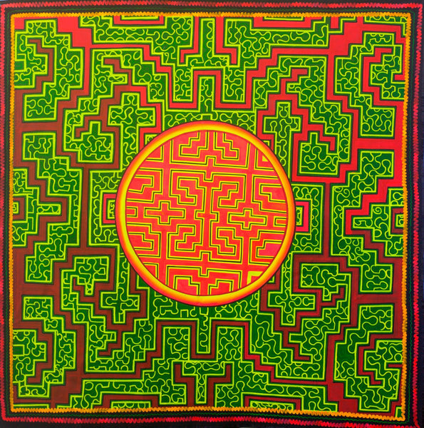 Shipibo Conibo Yage UV painting - fully blacklight glowing colors - psychedelic shipibo conibo ayahuasca artwork