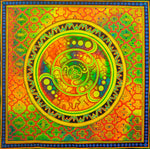 Crop Circle Ayahuasca UV painting big size - 1.5mx1.5m - fully blacklight glowing colors - psychedelic crop circle shipibo art