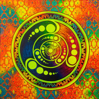 Crop Circle Shipibo UV painting big size - 1.5mx1.5m - fully blacklight glowing colors - psychedelic crop circle shipibo art
