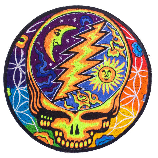 Grateful Dead glowing color Patch psy patch LSD psychedelic skull flower of life rainbow