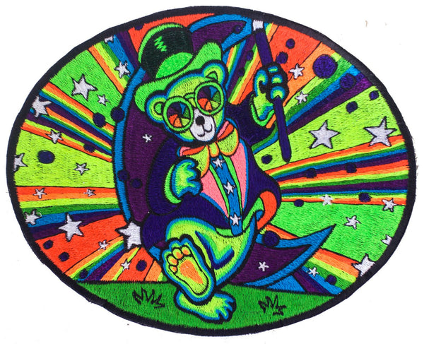 Grateful Dead Teddy patch blacklight glowing handmade psychedelic embroidery LSD artwork