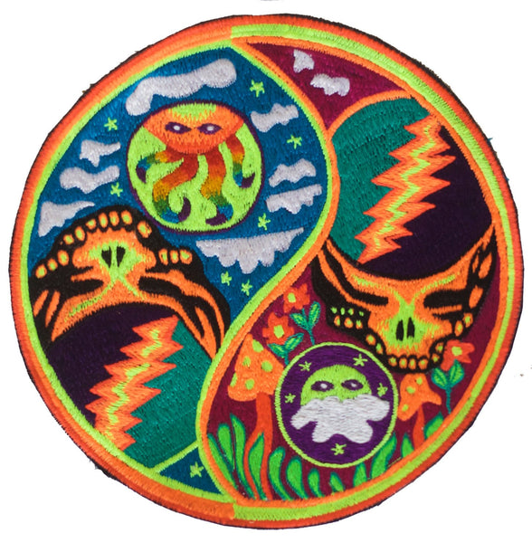 Grateful Dead psychedelic ying yang patch LSD skull flower of life rainbow sun magic mushroom sky