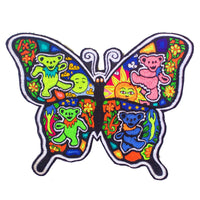 Grateful Dead Butterfly patch blacklight glowing handmade psychedelic embroidery hippie artwork