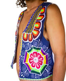 Flower Power summer jacket - handmade hippie artwork with flower of life embroidery on backside - you can choose any background fabric color