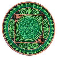 green fractal flower of life patch medium size - blacklight glowing handmade embroidery sacred geometry mandala