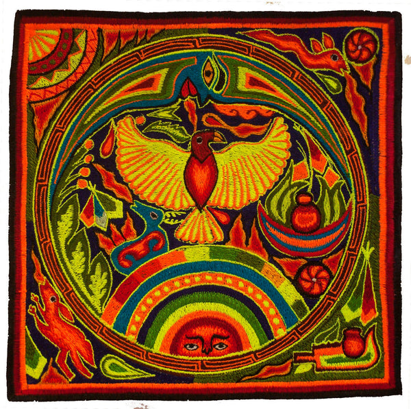 Huichol Golden Eagle embroidery patch peyote mescaline shaman artwork