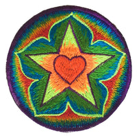 Lotus Heart starseed patch 4 inch blacklight active psychedelic design