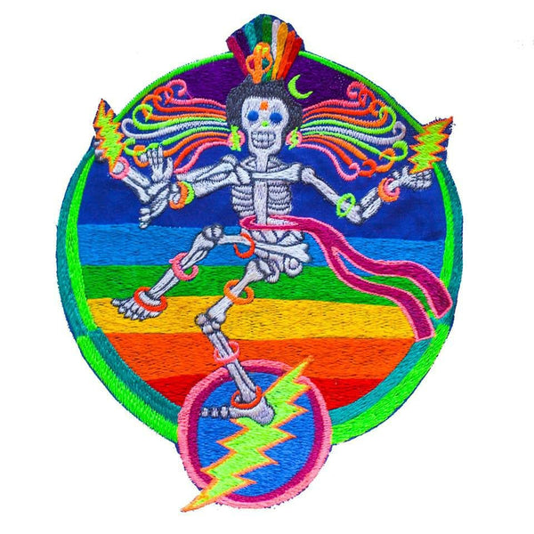 Grateful Dead Patch Dancing Shiva LSD psychedelic rainbow skeleton Jerry Garcia music embroidery art