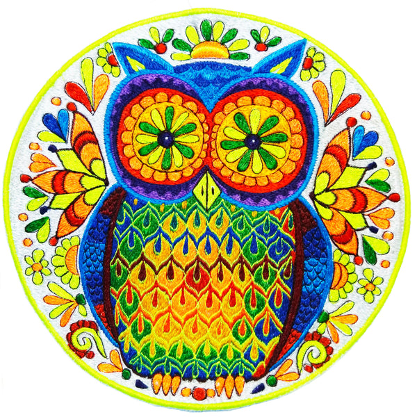 Wise Rainbow Owl embroidery patch artwork