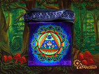 Allseeing Shrooms Bag psychedelic shoulderbag goa trance embroidery consciousness eye rainbow mandala blacklight glowing