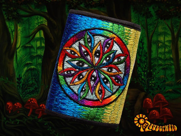"1000 Eyes"" moneypocket psychedelic wallet lsd vision purse goa trance embroidery billfold"