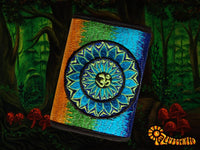 "Blue AUM Mandala"" moneypocket cosmic music wallet psychedelic goa trance billfold blacklight glowing om"
