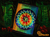 AUM Lotus moneypocket cosmic music purse goa trance billfold blacklight glowing embroidery