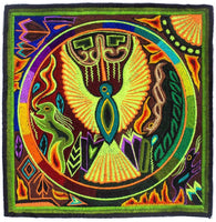 Huichol Golden Eagle peyote embroidery patch shaman artwork mescaline blacklight glowing colors
