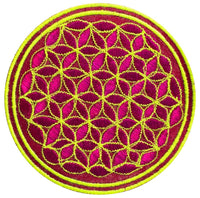 pink flower of life patch small size