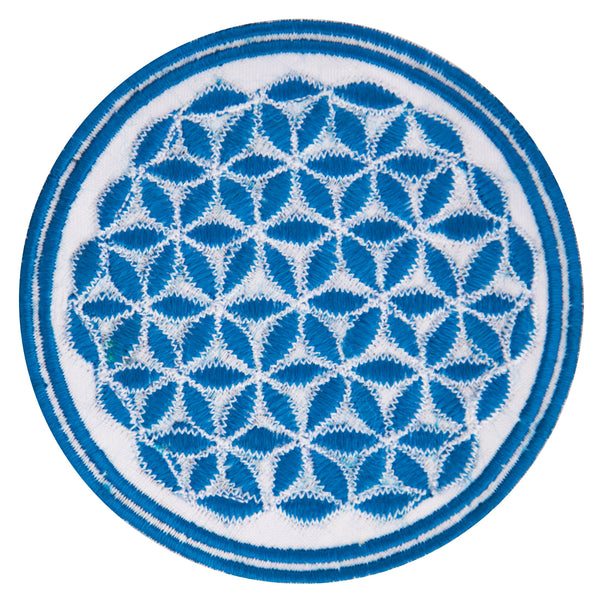 white - blue flower of life patch small size