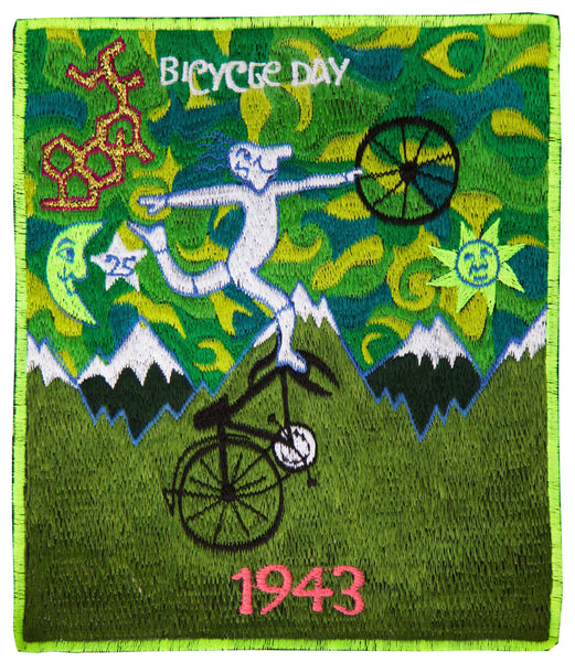 Green Bicycle Day Patch Psychedelic Dr. Albert Hofmann discovery of LSD vintage artwork Timothy Leary acid blotter art Bicycleday embroidery