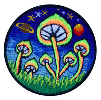 Magic Mushroom patch 3.5 inch size psilocybin planet shroom blacklight glowing sew on embroidery psychedelic goapatch Maria Sabina art