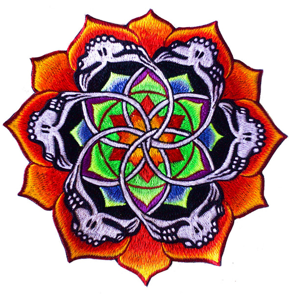 Grateful Dead flower mandala Patch psy deadhead patch LSD psychedelic flower of life rainbow handguided embroidery art uv active yantra