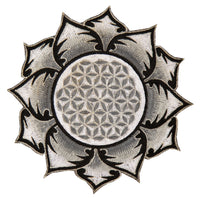White gray Flower of Life patch for sew on - holy geometry embroidery sacred healing art