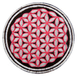 pink white black flower of life patch small size with variations