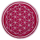 White pink flower of life patch sacred geometry embroidery for sew on
