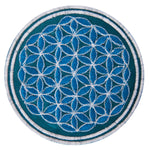 Turquese white flower of life patch sacred geometry embroidery for sew on