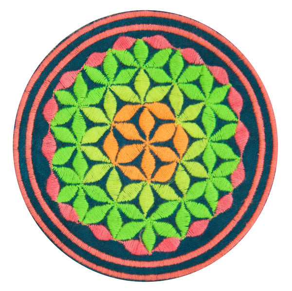 blacklight glowing turquese flower of life patch sacred geometry embroidery for sew on