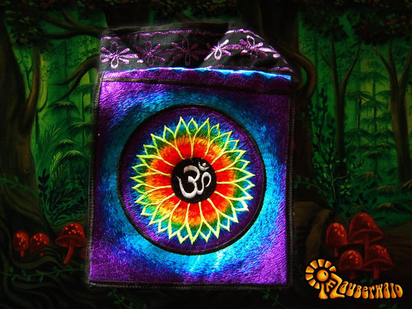 Aum shoulder bag blacklight glowing flower mandala cosmic music goa handbag