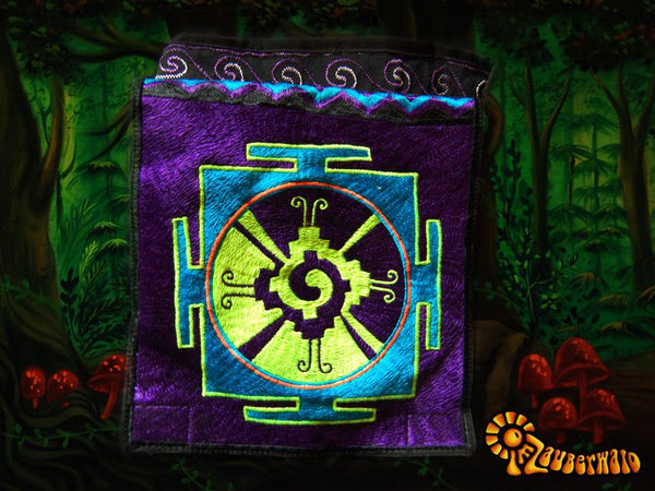Hunab Ku shoulderbag blacklight glowing Maya symbol center of galaxy purple handbag