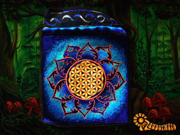 Blue flower of life shoulderbag blacklight glowing handbag sacred geometry mandala