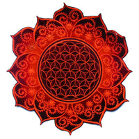 Flower of Life deepred flower mandala holy geometry psy patch sacred geometry