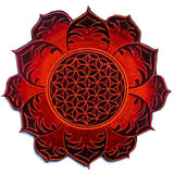 Flower of Life deepred celtic mandala holy geometry psy patch sacred information goa beautiful