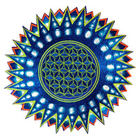Flower of Life green star patch holy geometry embroidery sacred information art