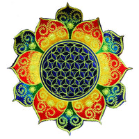 Rainbow Flower of Life celtic mandala holy geometry patch sacred geometry art