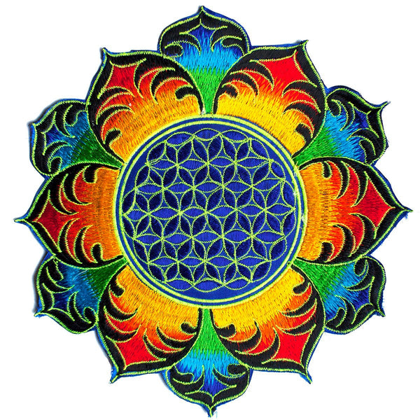 Rainbow Flower of Life holy geometry patch sacred geometry art