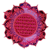 Purple Flower of Life holy geometry patch celtic mandala sacred geometry embroidery art for sew on