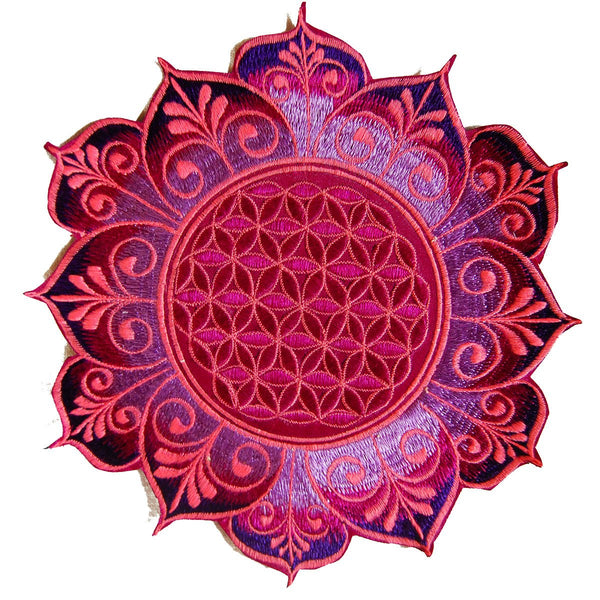 Purple Flower of Life holy geometry patch flower mandala sacred geometry embroidery art for sew on