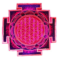 Goldbrown flower of life yantra sacred geometry patch holy healing information art