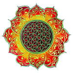 celtic Flower of Life red mandala holy geometry patch sacred art