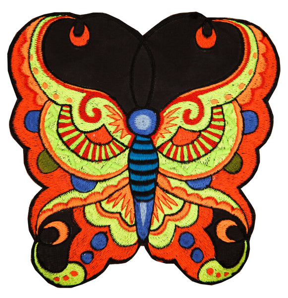 Psychedelic sunshine butterfly patch big size blacklight active embroidery psy circus art