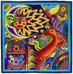 "Huichol ""Sun Deer"" peyote embroidery patch shaman artwork mescaline blacklight glowing colors"