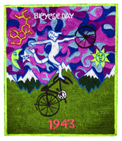 Pink Bicycleday Patch Psychedelic Albert Hofmann embroidery discovery of LSD vintage artwork Timothy Leary acid blotter art Bicycle Day