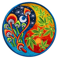Mushroom Ying Weed Yang mandala psychedelic shroom yantra sun moon embroidery patch