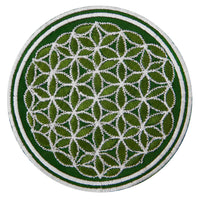 green white flower of life patch sacred geometry embroidery small size variations are available Drunvalo Melchizedek